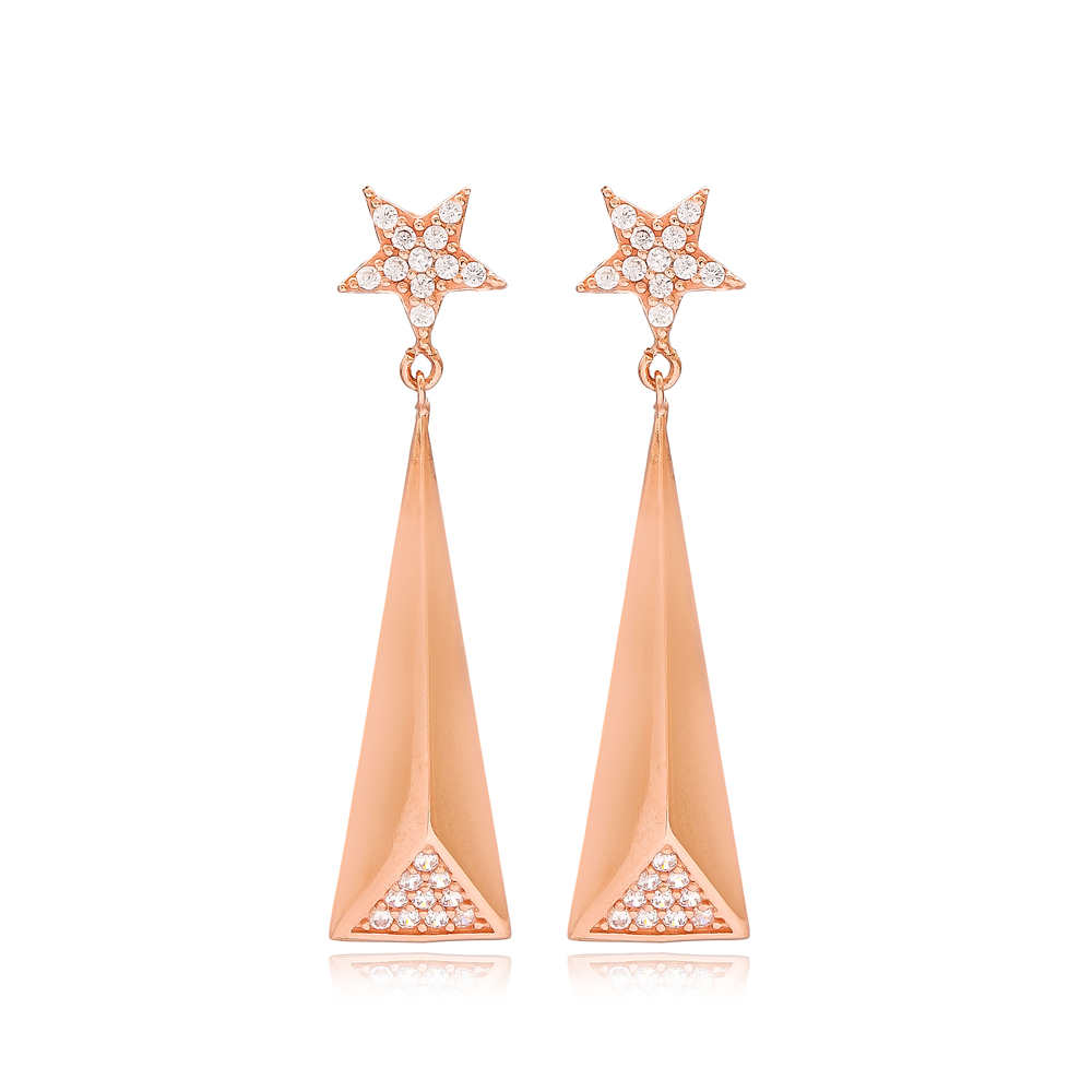 Dainty Design Star Long Earrings Turkish Wholesale Sterling Silver Jewelry