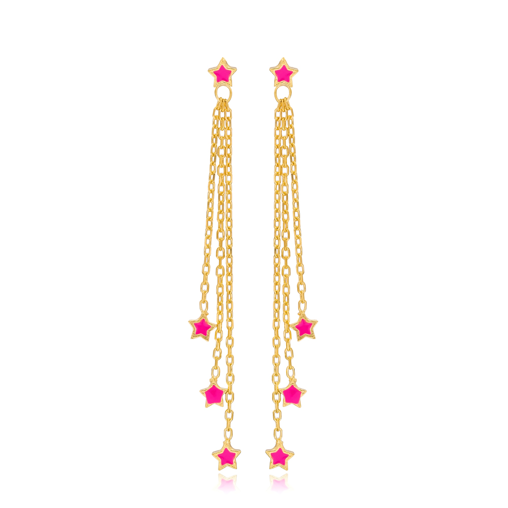 Pink Enamel Minimal Star Design Charm Long Earrings Wholesale Turkish Handmade 925 Silver Sterling Jewelry