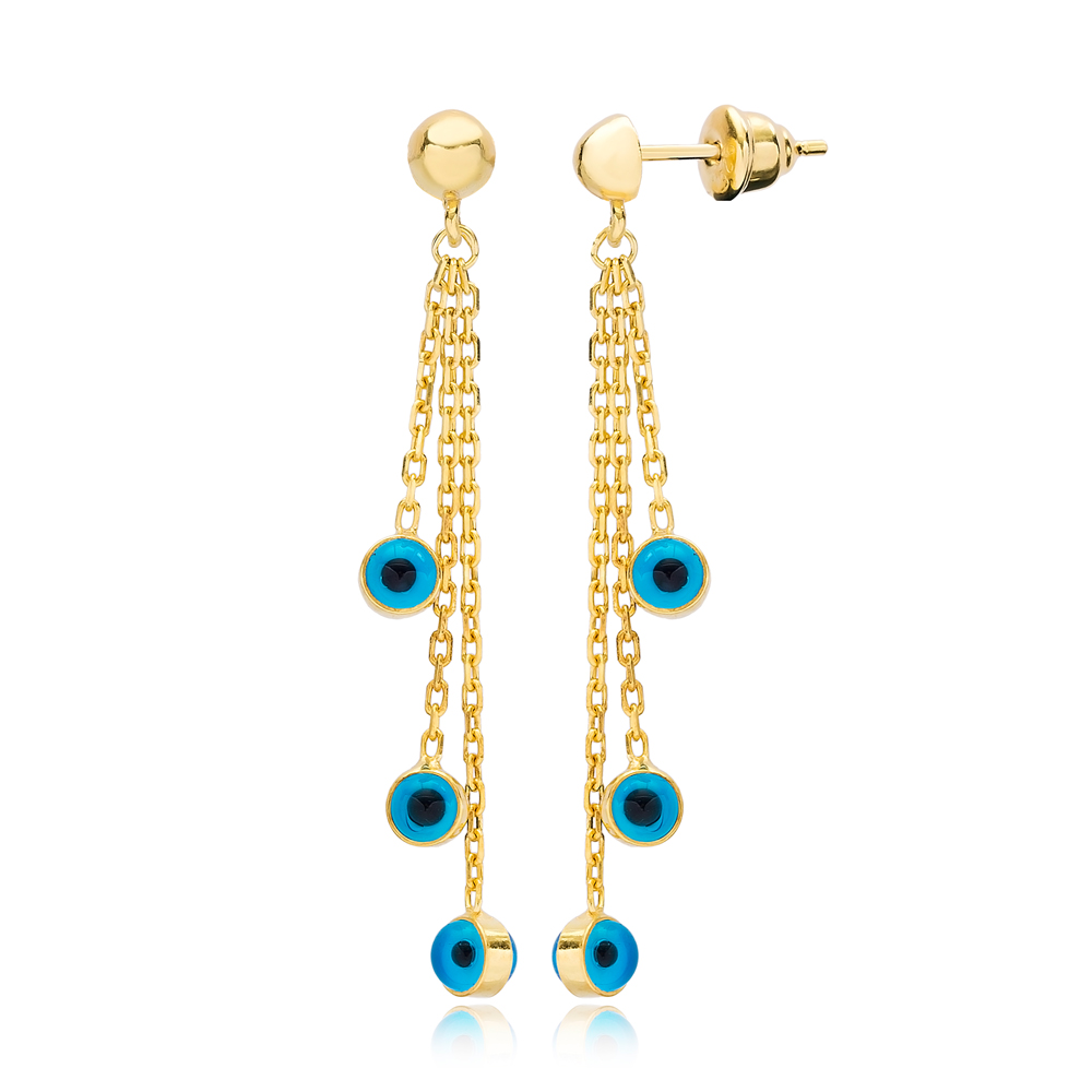 Elegant Turquoise Evil Eye Design Charms Long Earrings Wholesale Turkish Handmade 925 Silver Sterling Jewelry