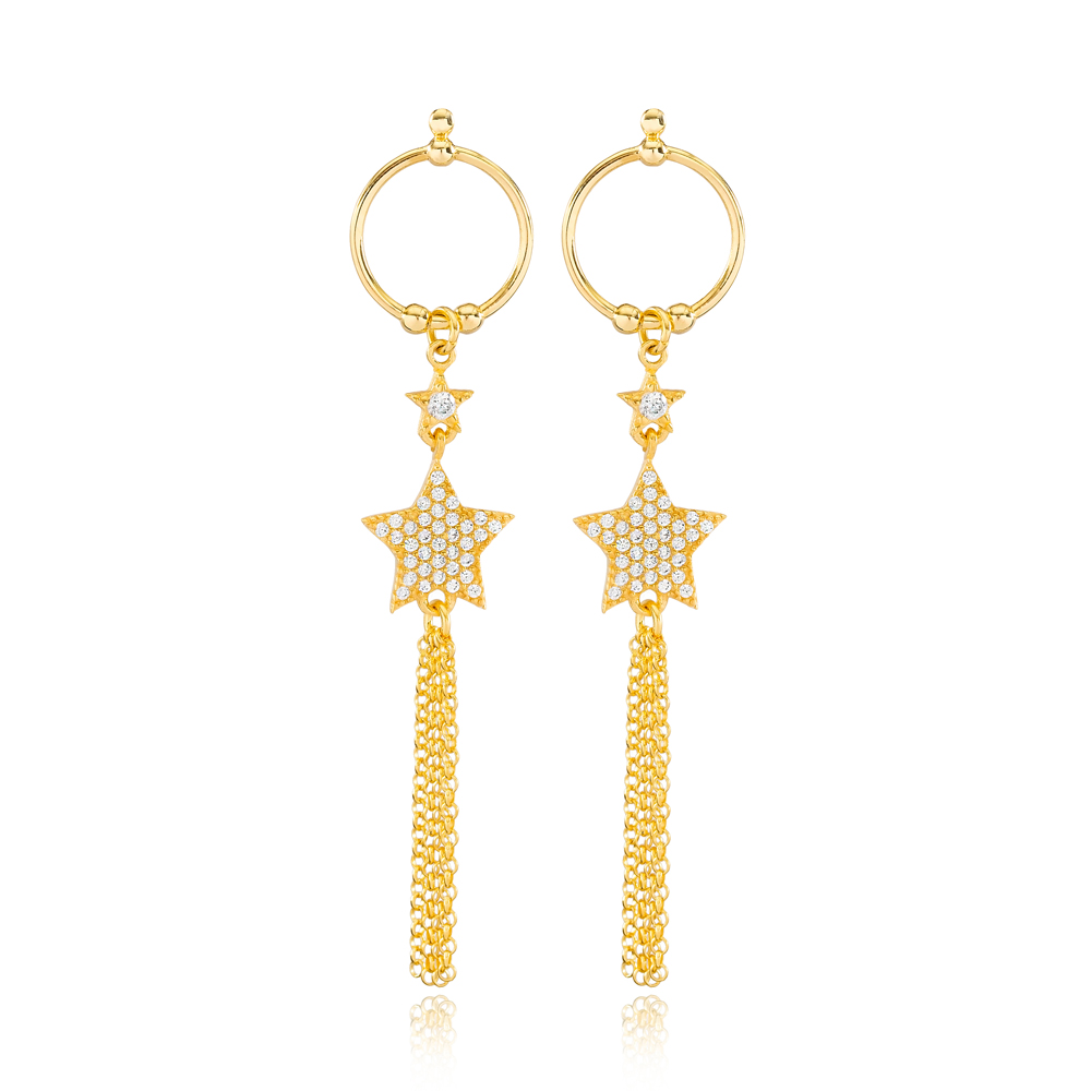 Star and Round Hollow Design Tassel Earrings Wholesale Turkish Handmade 925 Sterling Silver Jewelry