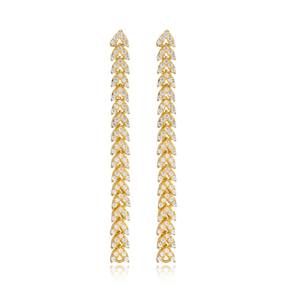 Elegant Popular Long Zircon Earrings Wholesale Turkish Handmade 925 Sterling Silver Jewelry