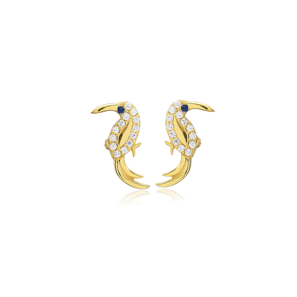 Parrot Design Stud Earring Turkish Wholesale Handmade 925 Sterling Silver Jewelry