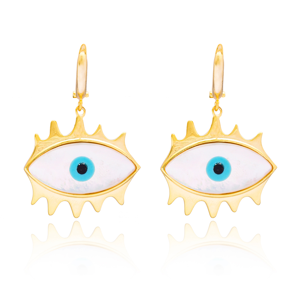 Evil Eye Design Earring In Turkish Wholesale 925 Sterling Silver Earring