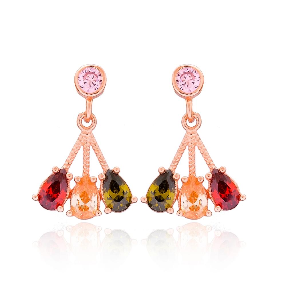 Pear Stone Dangle Silver Earring Wholesale 925 Sterling Silver Jewelry