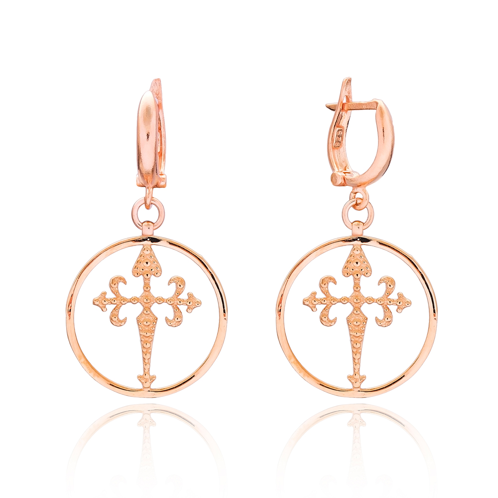 Sterling Silver Gothic Cross Earring Wholesale Handmade Turkish 925 Silver Sterling Jewelry