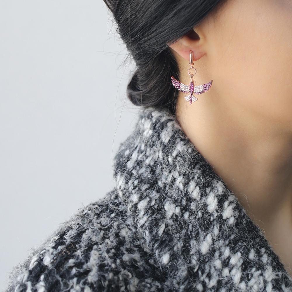 Phoenix Bird Silver Earring Wholesale 925 Sterling Silver Handmade Jewelry