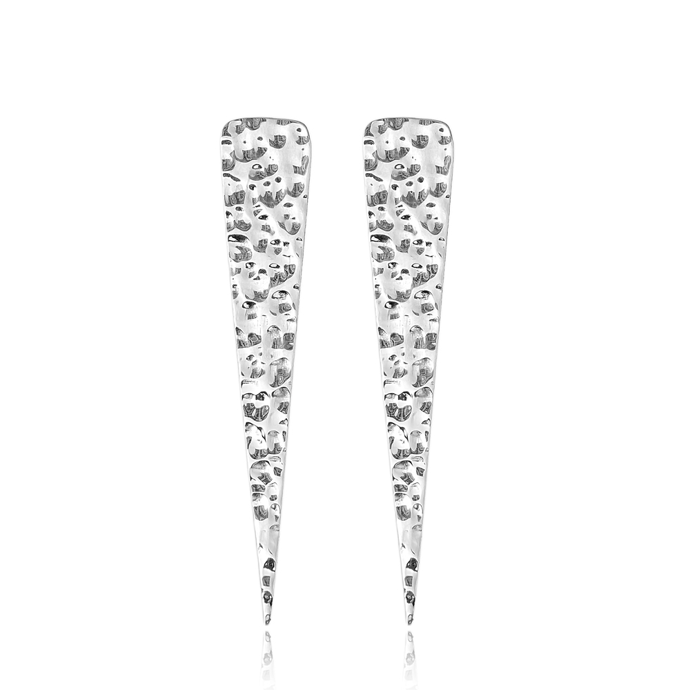 Geometric Hammered Earrings Turkish Wholesale 925 Sterling Silver Earring