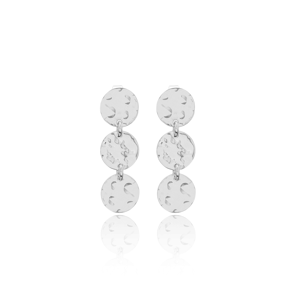 Rounded Hammered Earrings Turkish Wholesale 925 Sterling Silver Earring