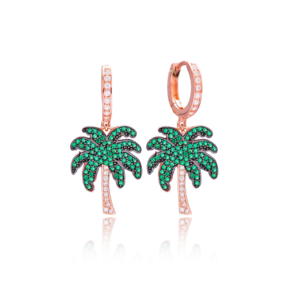 Palm Tree Dangle Earrings Wholesale 925 Sterling Silver Jewelry