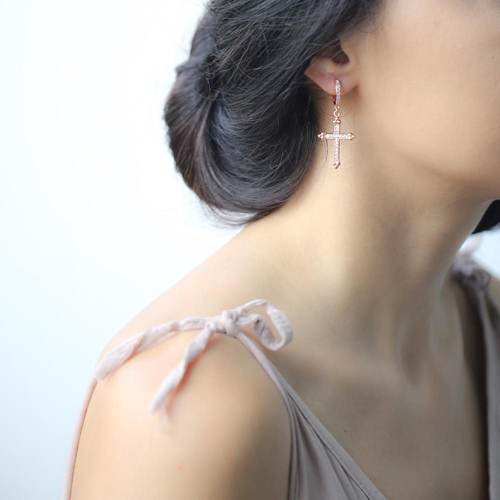 Inlaid Cross Hoop Earrings Wholesale Sterling Silver Earring
