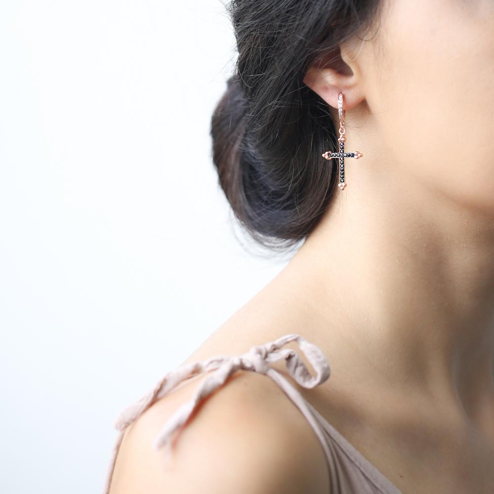 Inlaid Cross Hoop Earrings Turkish Wholesale Sterling Silver Earring
