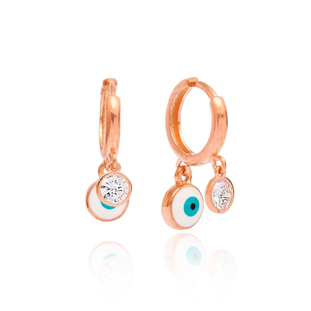 Enamel Evil Eye Earring Wholesale Handmade Turkish 925 Silver Sterling Jewelry
