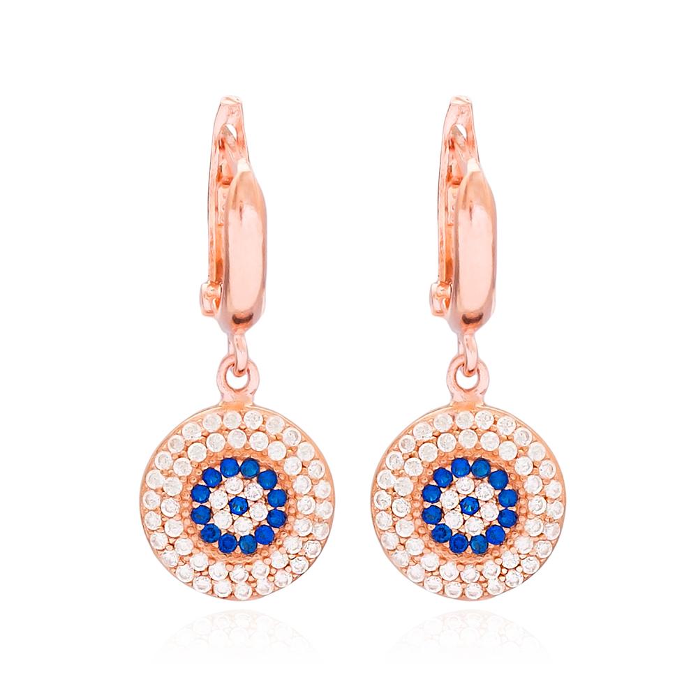 Evil Eye Round Dangle Design Earring Turkish Wholesale Handmade 925 Sterling Silver Jewelry