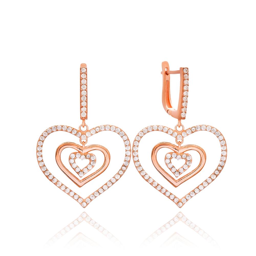 Heart Shape Earring Wholesale Handmade Turkish 925 Silver Sterling Jewelry