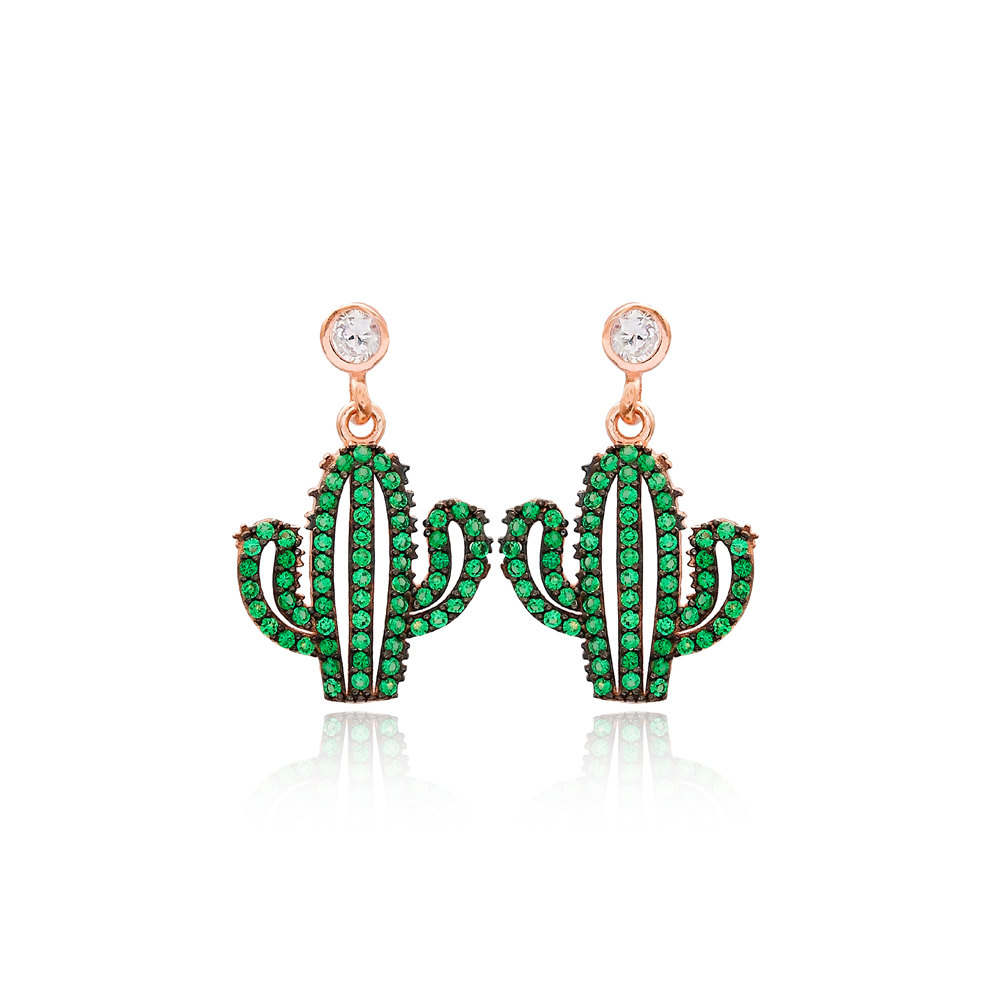 Green Cactus Dangle Earring Handmade Turkish 925 Sterling Silver Jewelry