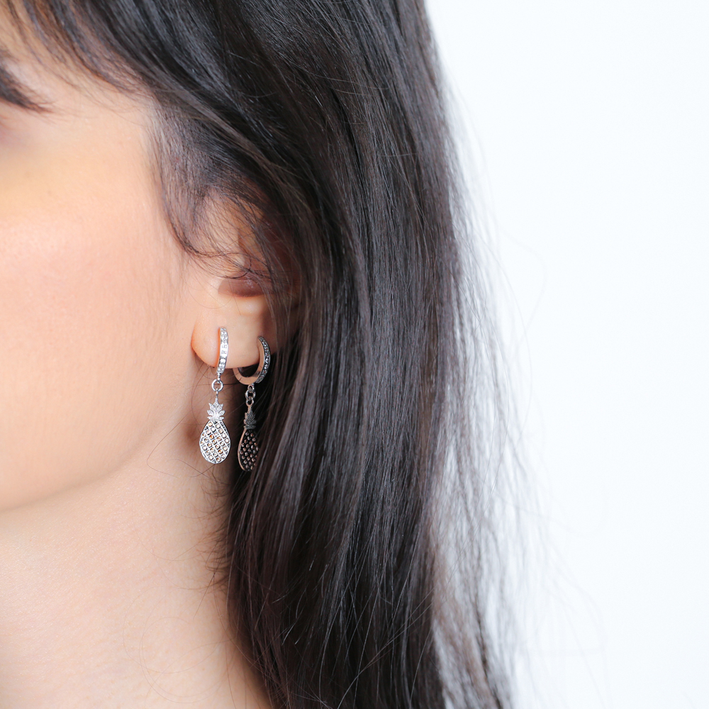 Pineapple Dangle Earrings Turkish Wholesale Handmade 925 Sterling Silver Jewelry