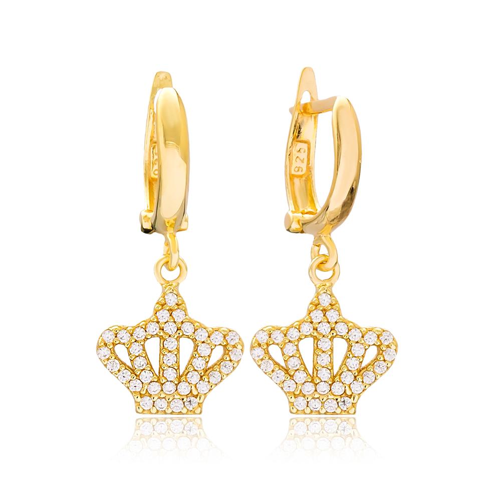 Crown Design Dangle Earrings Turkish Wholesale Handmade 925 Sterling Silver Jewelry