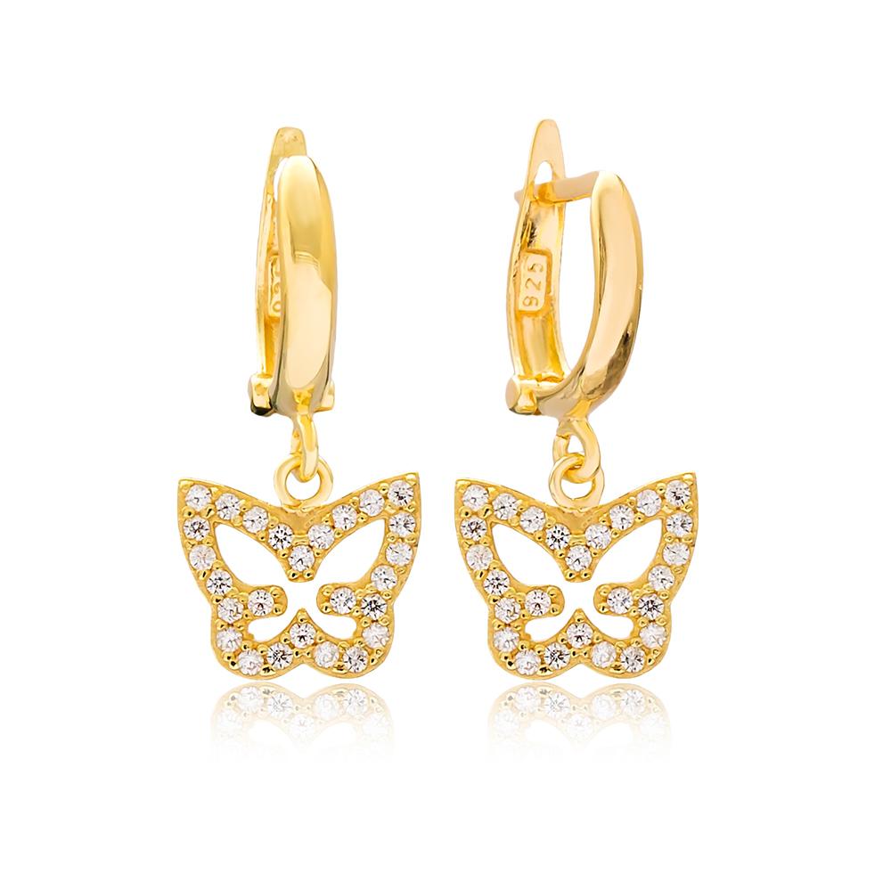 Butterfly Design Dangle Earrings Turkish Wholesale Handmade 925 Sterling Silver Jewelry