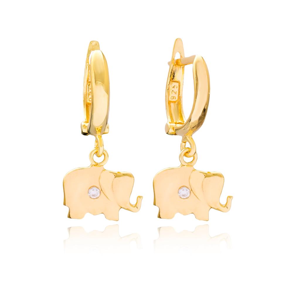 Elephant Shape Dangle Earrings Turkish Wholesale Handmade 925 Sterling Silver Jewelry