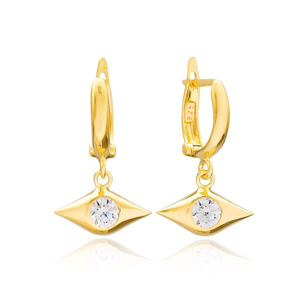 Evil Eye Dangle Earrings Turkish Wholesale Handmade 925 Sterling Silver Jewelry