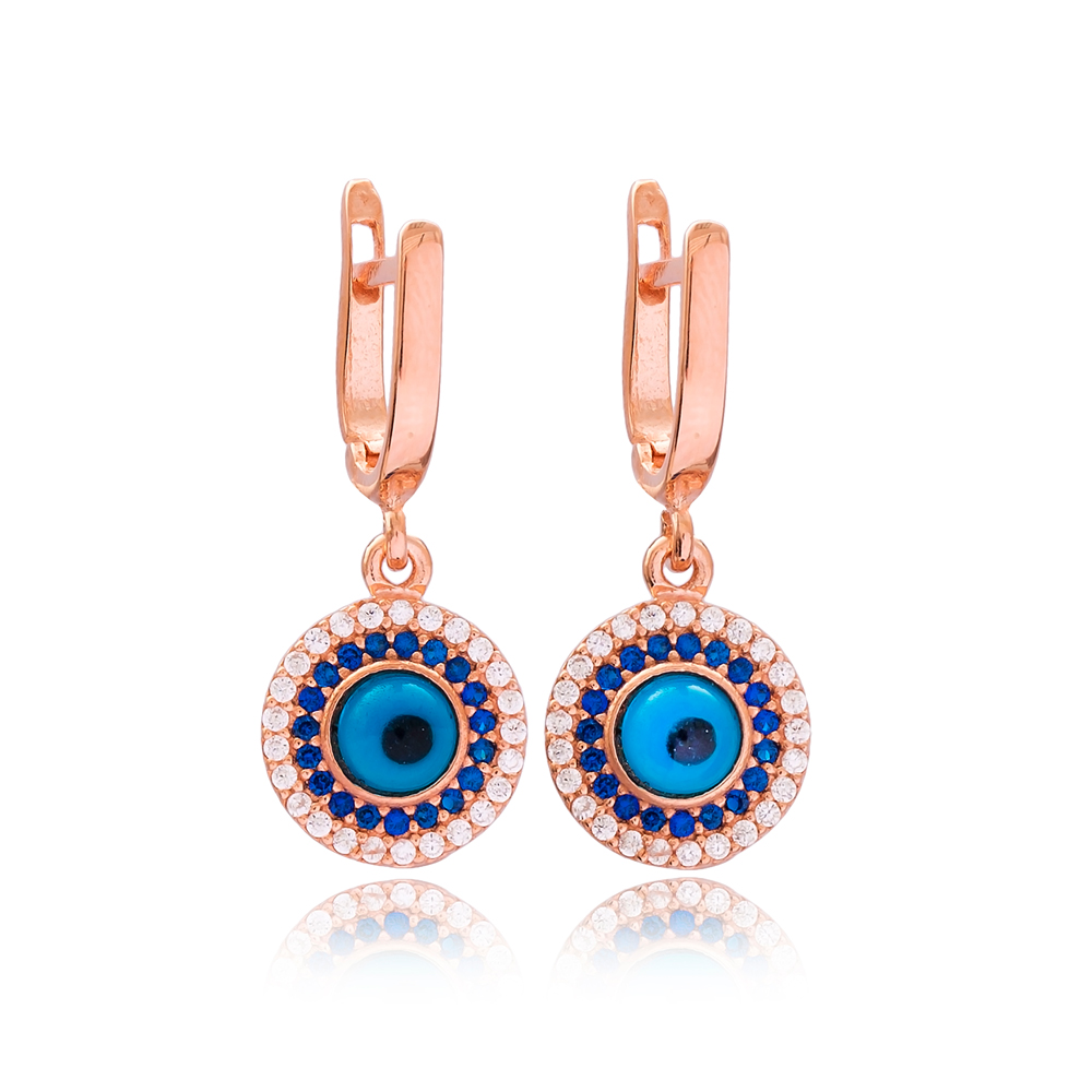 Trendy Evil Eye Shape Turkish Wholesale Handmade 925 Sterling Silver Earrings