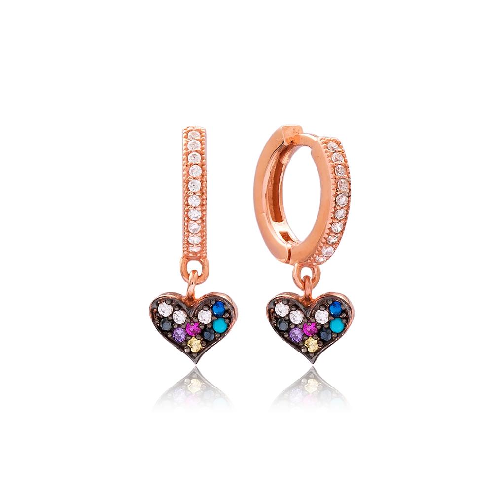 Mix Stone Heart Design Turkish Wholesale Handmade 925 Sterling Silver Earrings