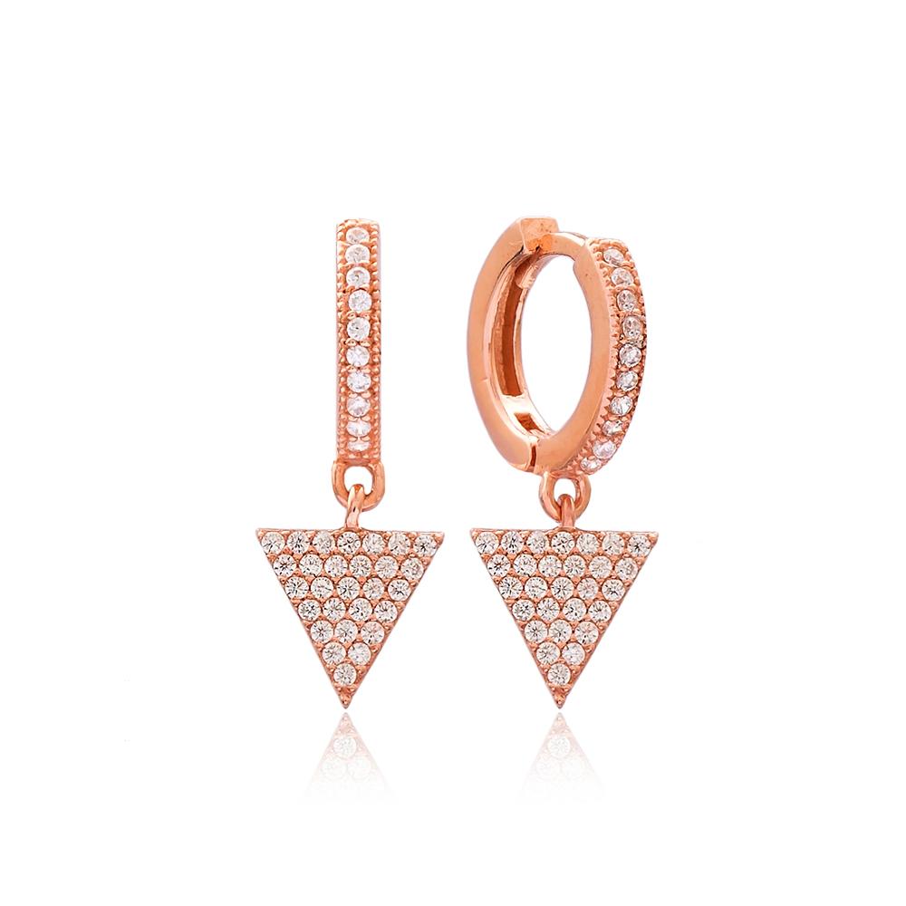 Triangle Shape Charm Turkish Wholesale Handmade 925 Sterling Silver Earrings