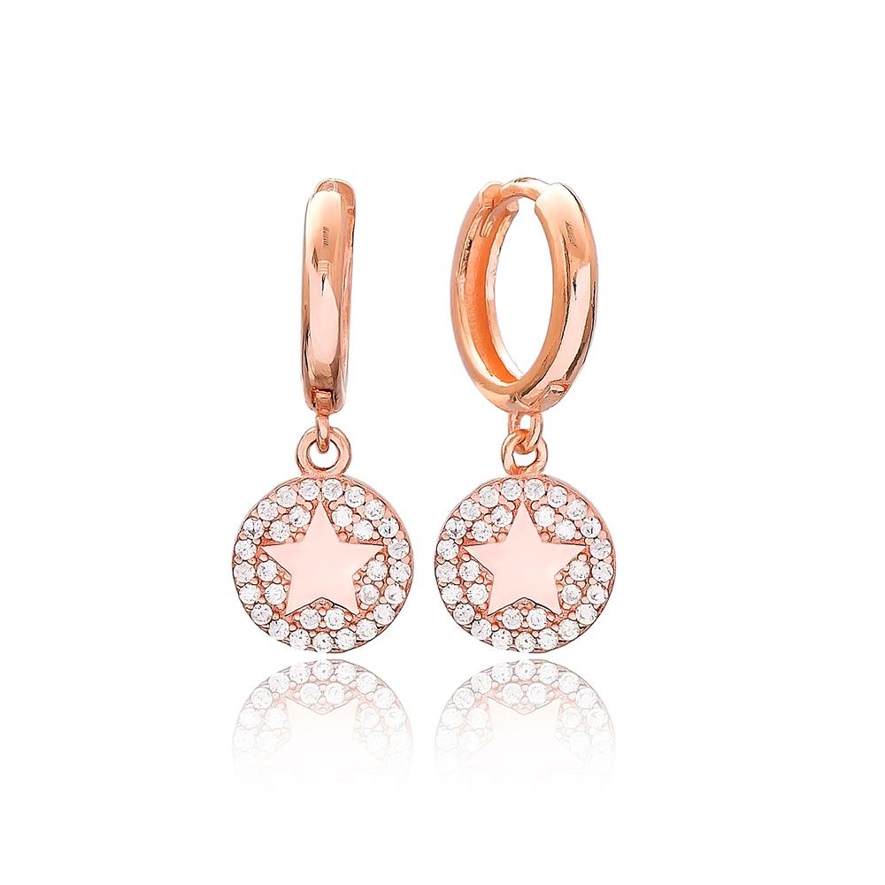 Round Shape Star Design Charm Turkish Wholesale Handmade 925 Sterling Silver Earrings