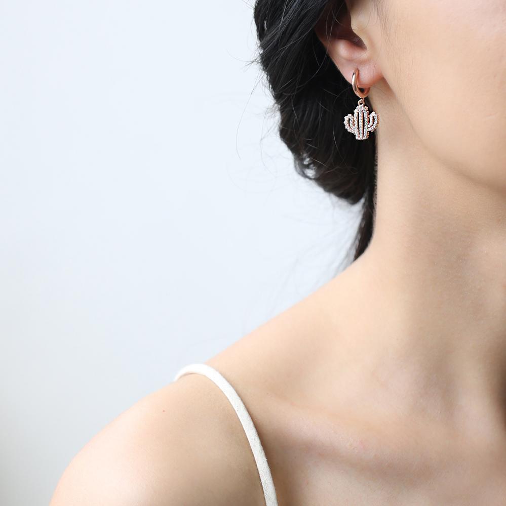 Cactus Design Charm Turkish Wholesale Handmade 925 Sterling Silver Earrings