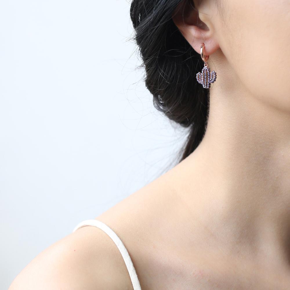 Amethyst Stone Cactus Design Charm Turkish Wholesale Handmade 925 Sterling Silver Earrings