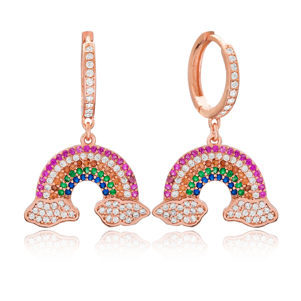 Intertwined Rainbow and Cloud Design Charm Turkish Wholesale Handmade 925 Sterling Silver Earrings
