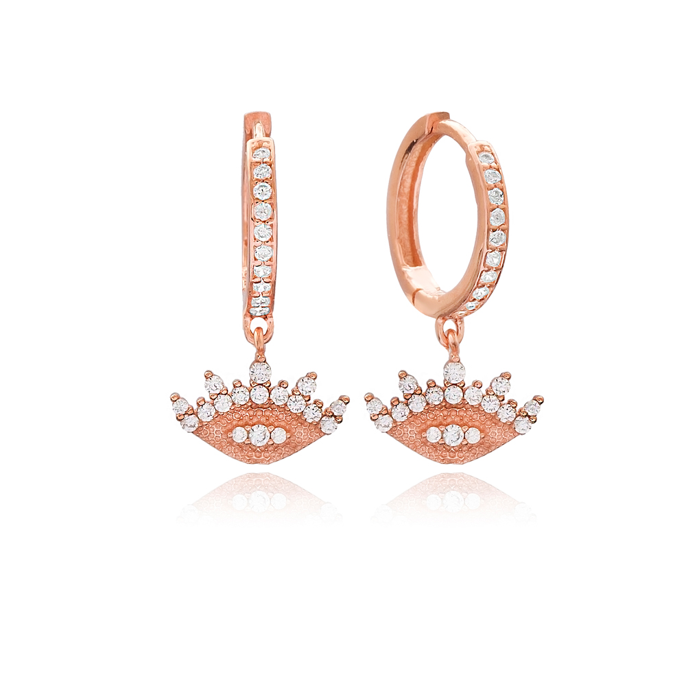 Simple Eye Shape Charm Turkish Wholesale Handmade 925 Sterling Silver Earrings