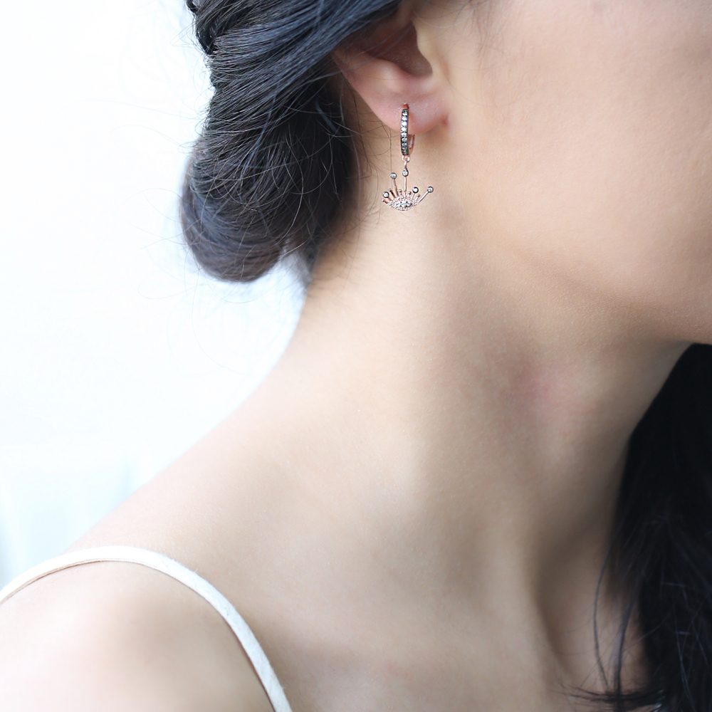 Elegant Eye Shape Charm Turkish Wholesale Handmade 925 Sterling Silver Earrings