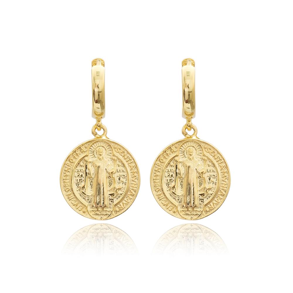 Medallion Charm Turkish Wholesale Handmade 925 Sterling Silver Dangle Earrings