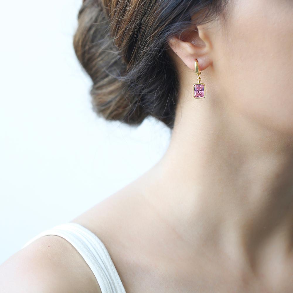 Rectangle Shape Pink Stone Turkish Wholesale Handmade 925 Sterling Silver Dangle Earrings