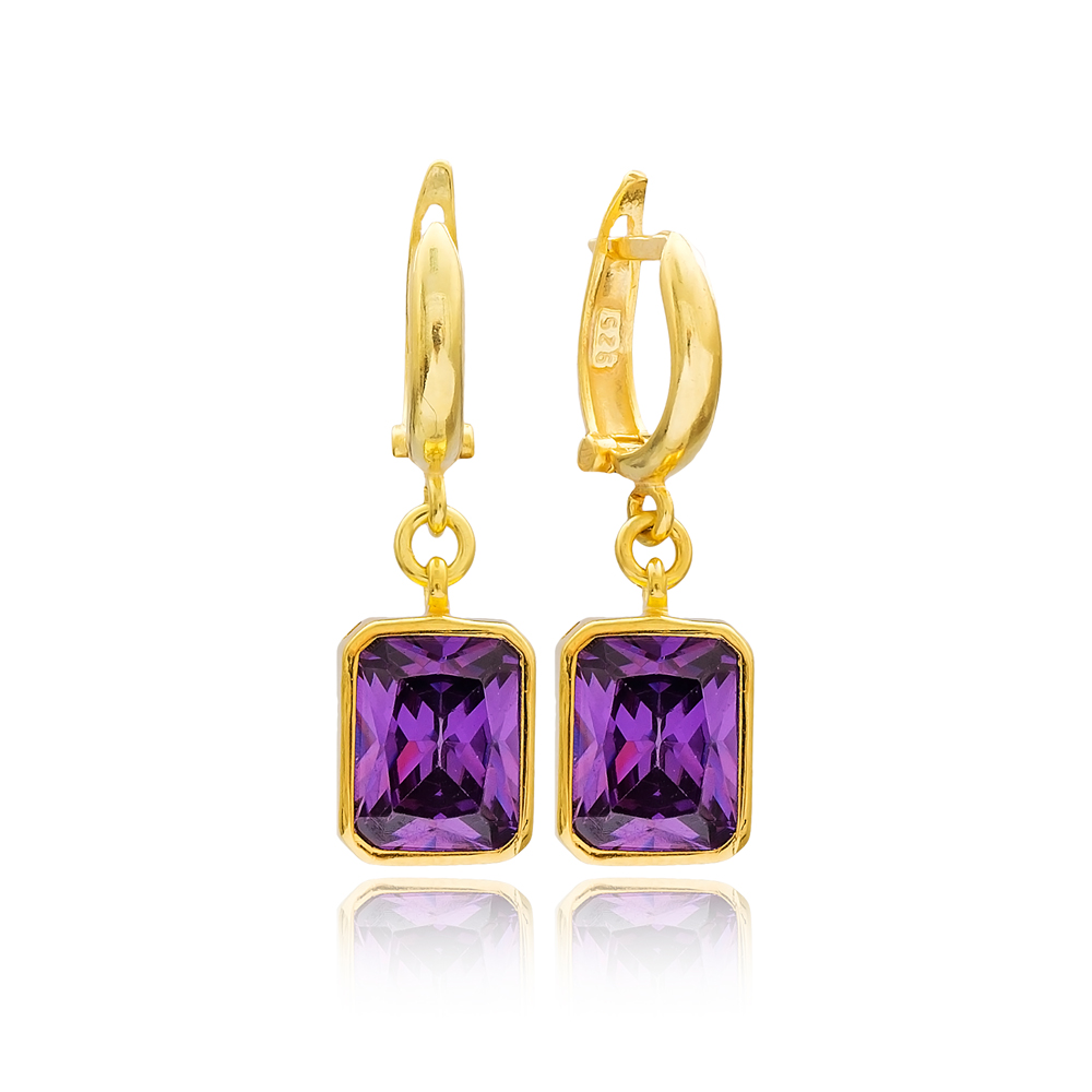 Rectangle Shape Purple Stone Turkish Wholesale Handmade 925 Sterling Silver Dangle Earrings