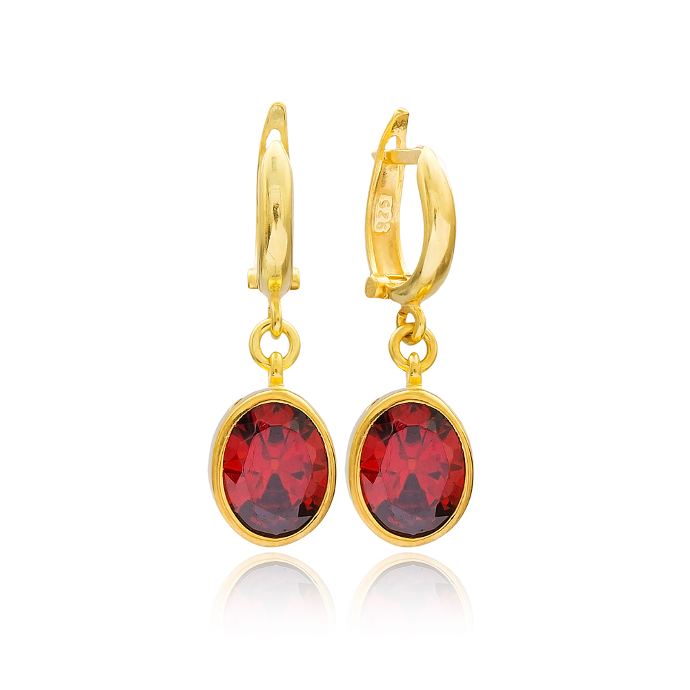 Oval Shape Garnet Stone Turkish Wholesale Handmade 925 Sterling Silver Dangle Earrings