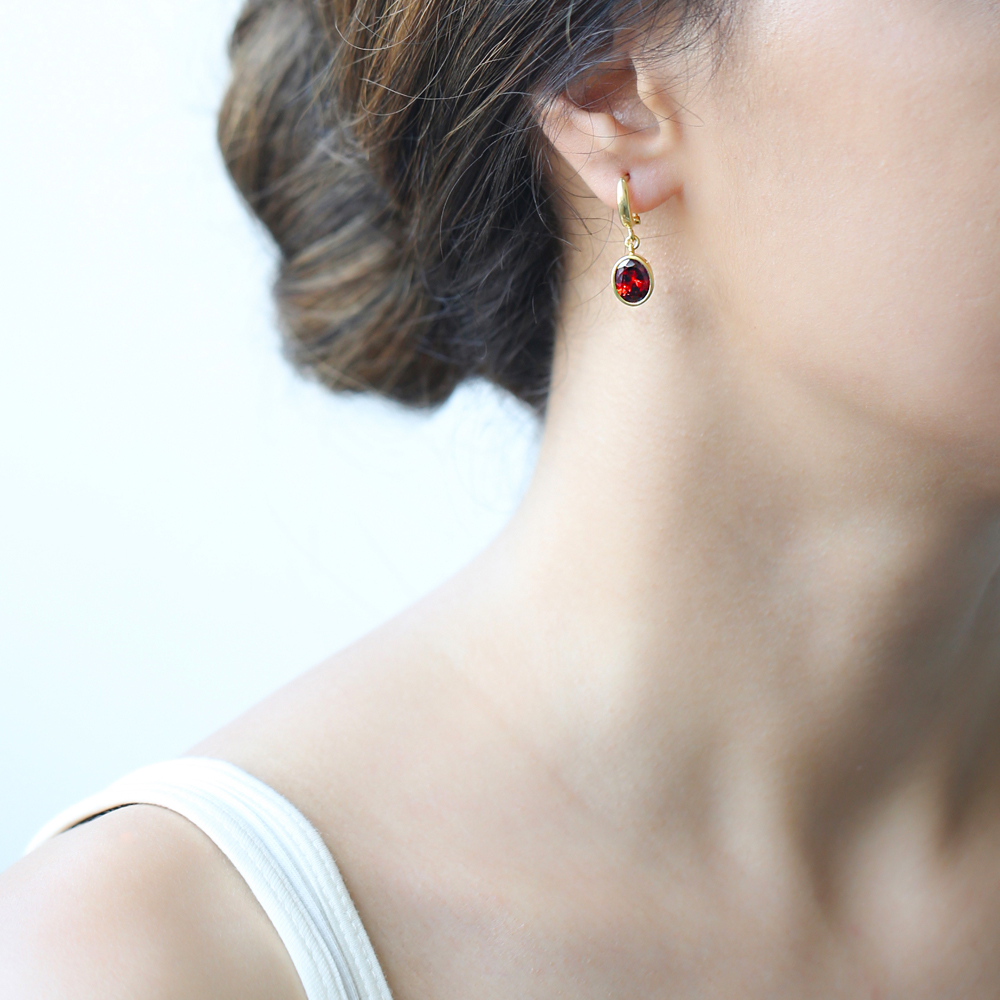 Oval Shape Garnet Stone Turkish Wholesale Handmade 925 Sterling Silver Dangle Earrings