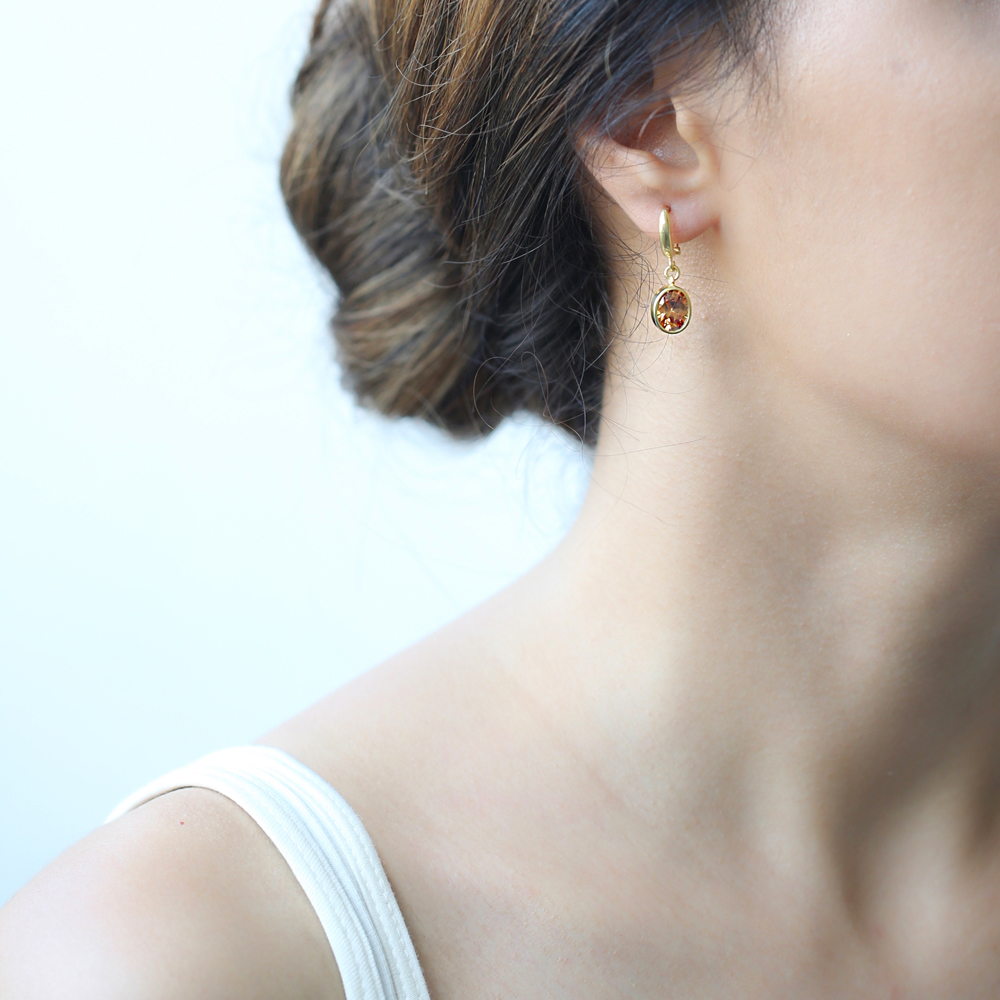 Oval Shape Quartz Stone Turkish Wholesale Handmade 925 Sterling Silver Dangle Earrings