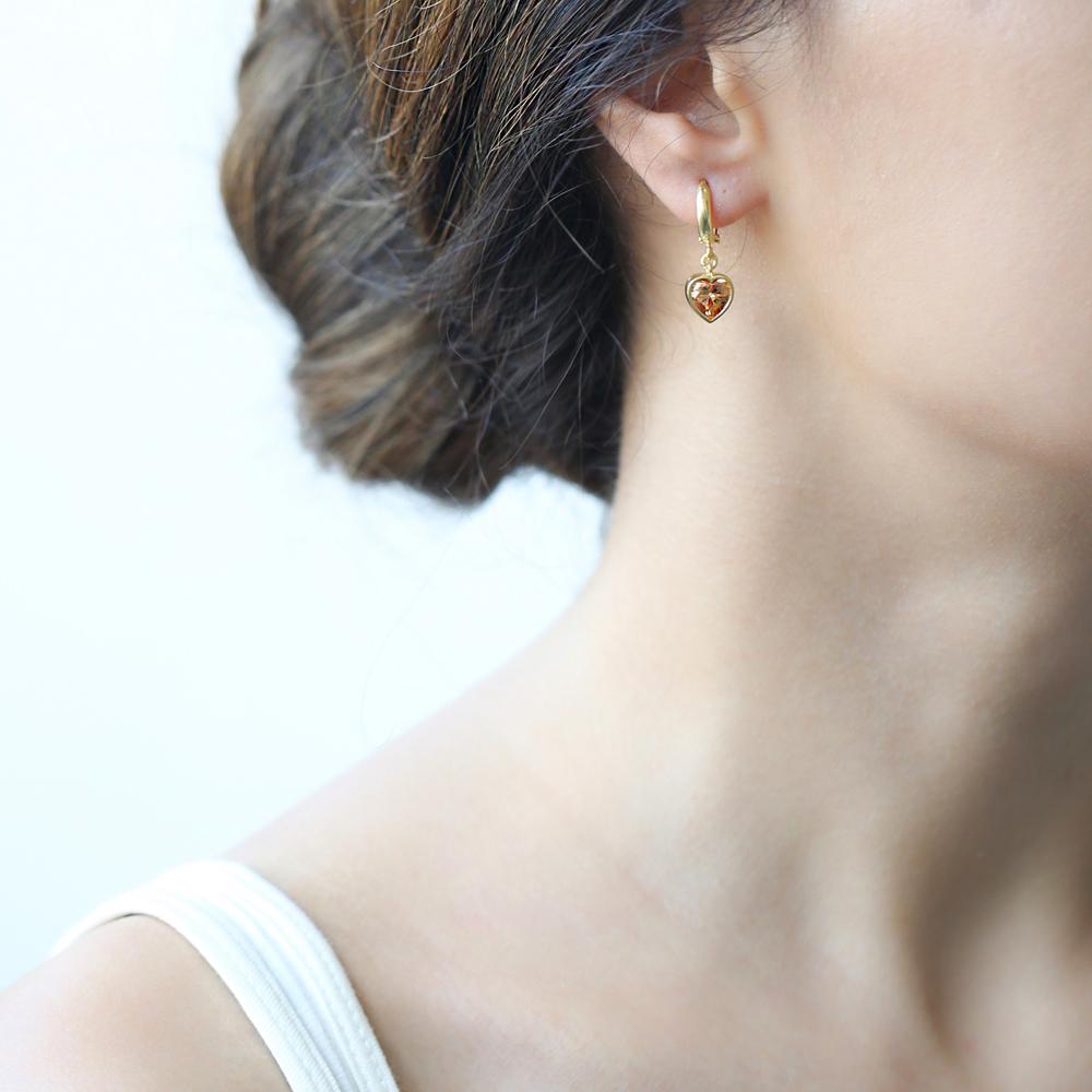 Heart Shape Quartz Stone Turkish Wholesale Handmade 925 Sterling Silver Dangle Earrings