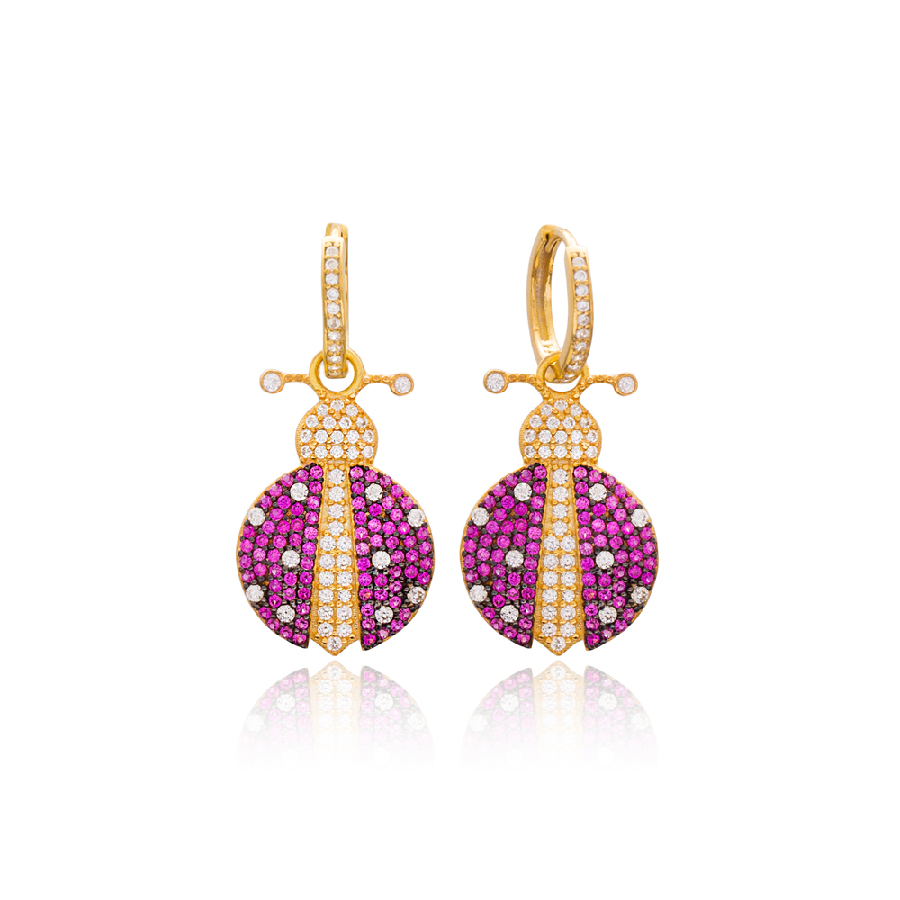 Ladybug Design Turkish Wholesale Handmade 925 Sterling Silver Dangle Earrings
