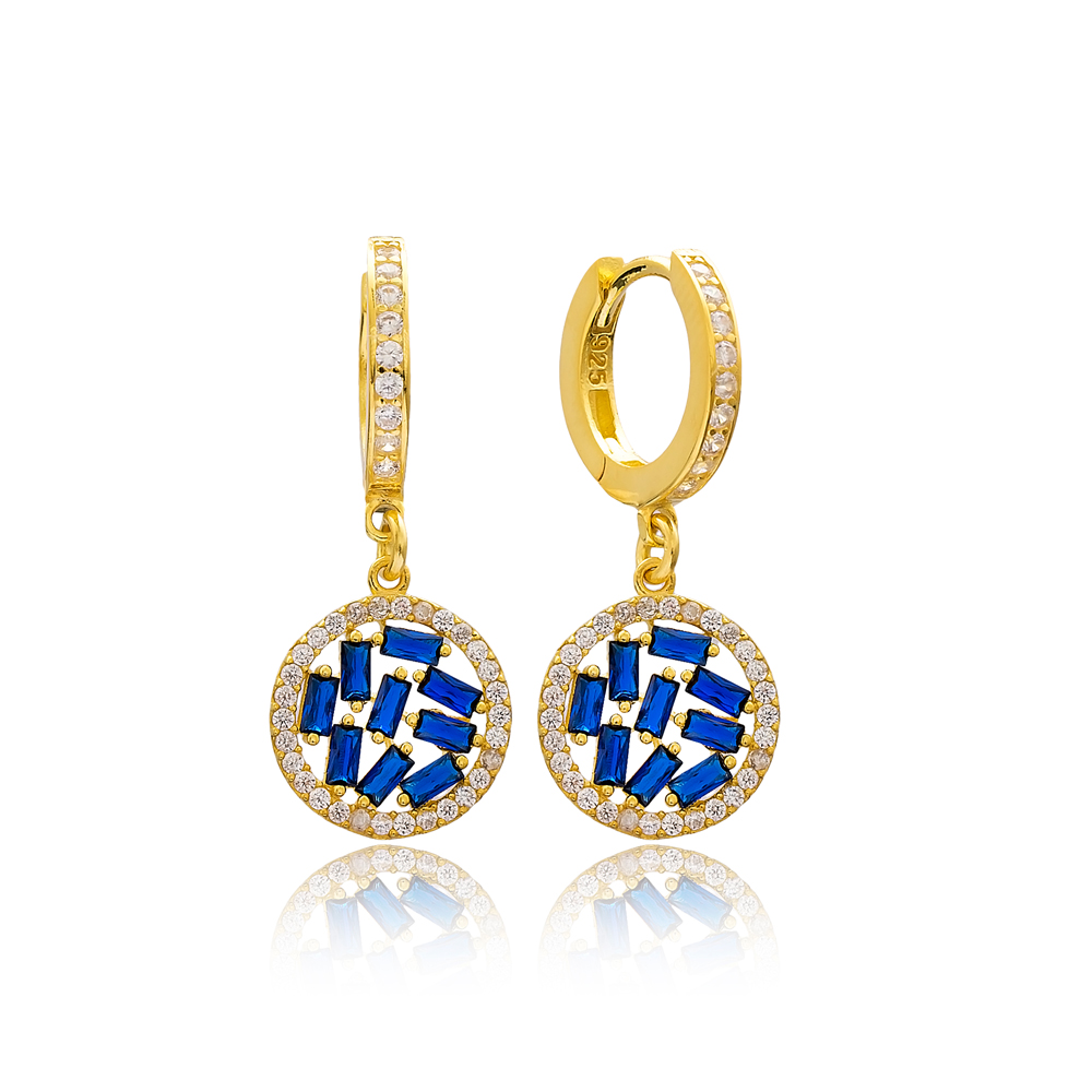 Sapphire Stone Baguette Elegant Dangle Earring Turkish Wholesale 925 Sterling Silver Jewelry