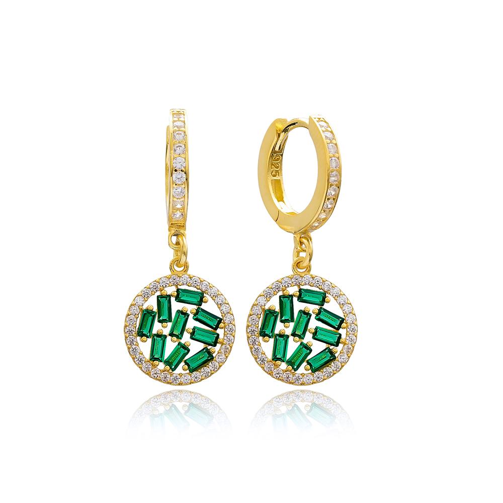 Emerald Stone Baguette Elegant Dangle Earring Turkish Wholesale 925 Sterling Silver Jewelry