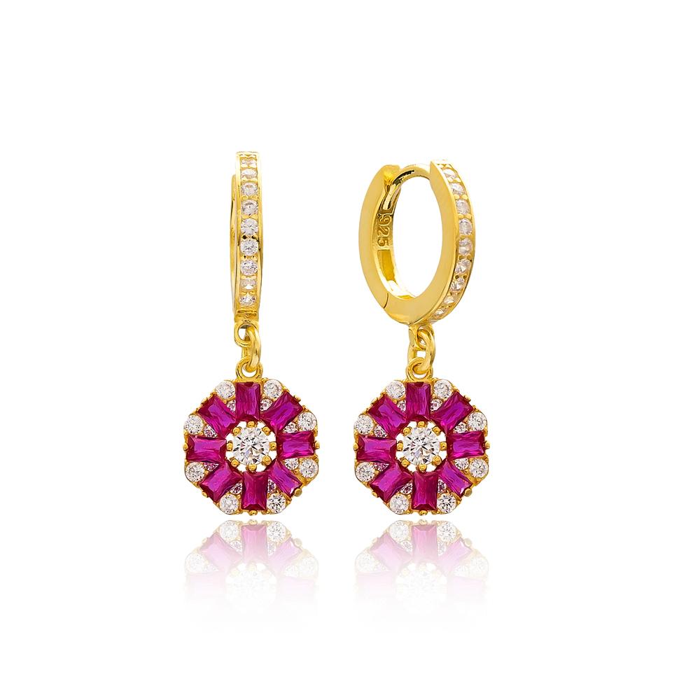 Flower Design Ruby Stone 925 Sterling Silver Wholesale Turkish Dangle Earring