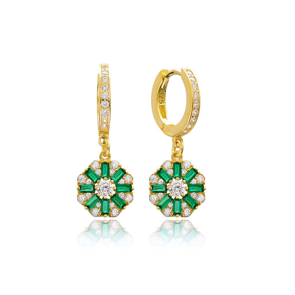 Flower Design Emerald Stone 925 Sterling Silver Wholesale Turkish Dangle Earring