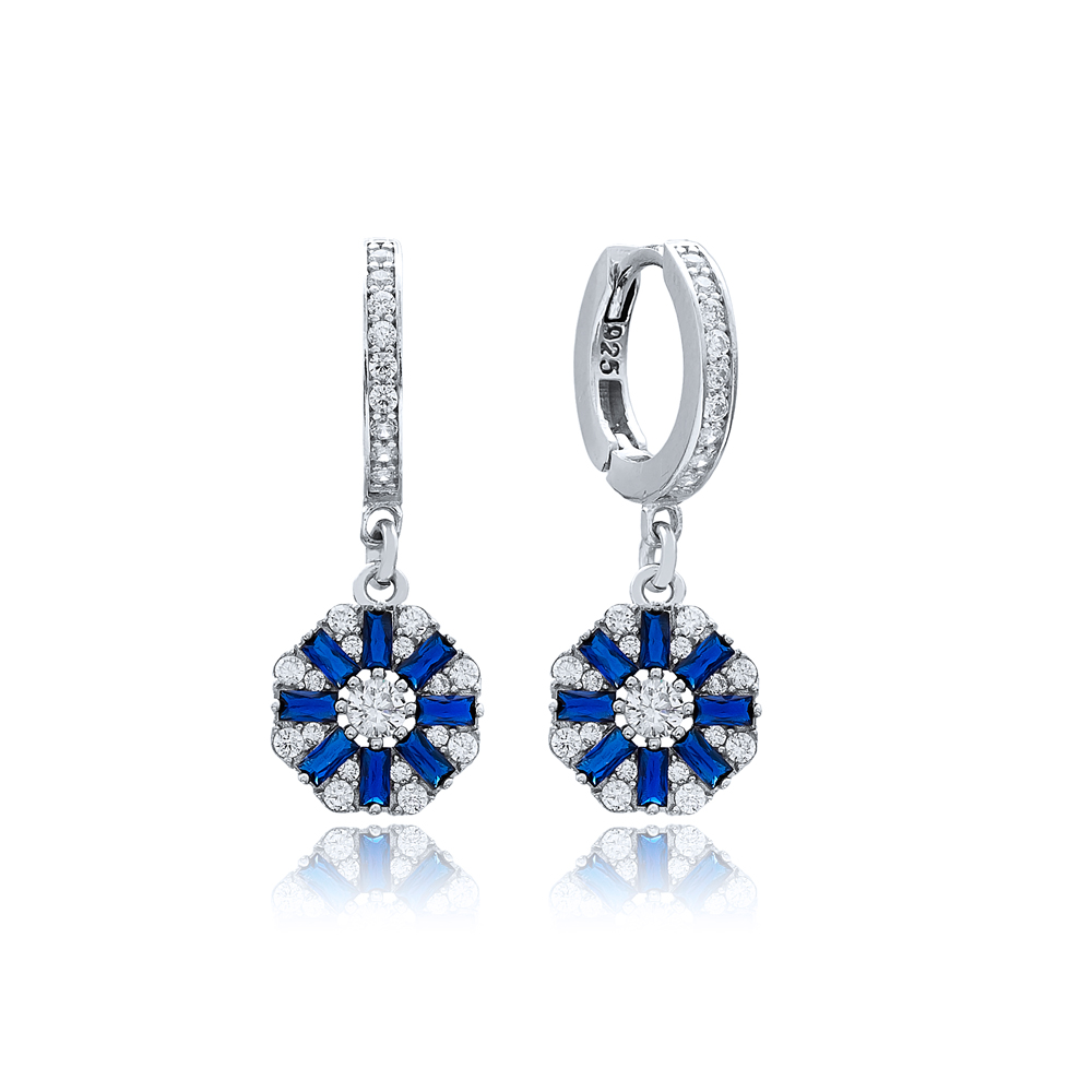 Sapphire Stone Flower Design 925 Sterling Silver Wholesale Turkish Dangle Earring