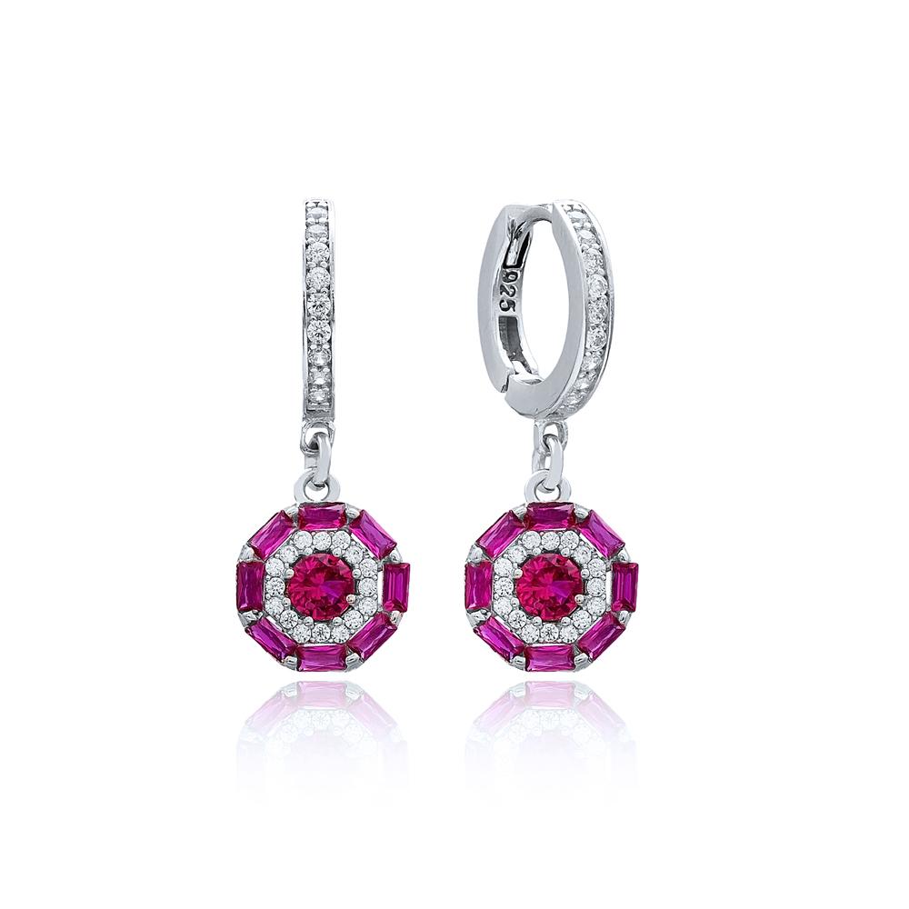 Ruby Stone Baguette Dainty Design Dangle Earring Turkish Wholesale 925 Sterling Silver Jewelry