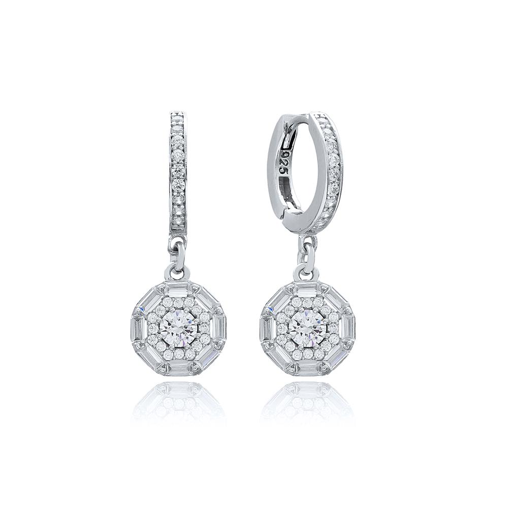 Zircon Stone Baguette Dainty Design Dangle Earring Turkish Wholesale 925 Sterling Silver Jewelry