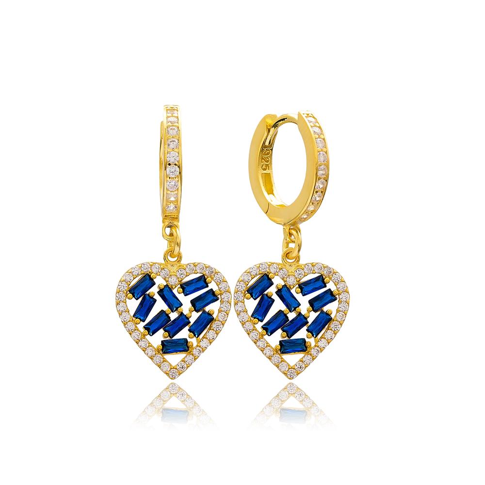 Heart Design Sapphire Stone Baguette Wholesale Earring Turkish 925 Sterling Silver Jewelry