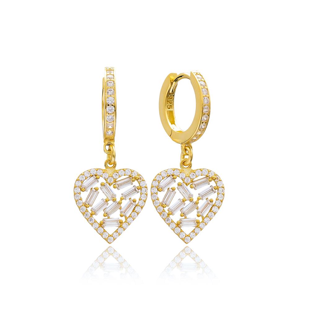 Baguette Heart Design Zircon Stone Wholesale Earring Turkish 925 Sterling Silver Jewelry